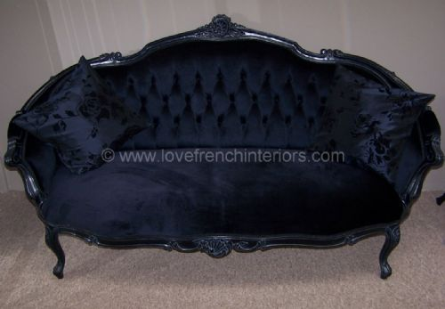 Black Velvet Sofa in Noir Black